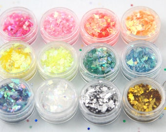 Iridescent Glitter Flakes - Glitter Kit for Nail Art, Decoden, Makeup, Resin Jewelry Making, and More - 12 Jars