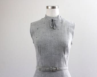 Late 1940s Early 1950s Grey Linen Dress Set