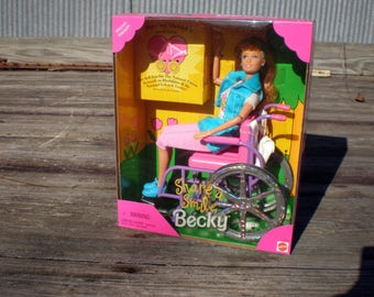 Vintage Share a Smile Becky Doll, Barbies Disabled Friend in a Wheelchair, 1996 Special Edition, Mint in the Box, Mattel Collectible Doll