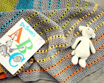 Sea of Colors Modern Baby Blanket - Organic cotton wool blend - Modern Baby Blanket - Stripes - pick your color choices