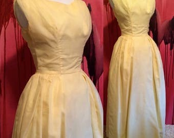SALE Yellow Chiffon Dress by Lorrie Deb San Francisco, Vintage 1950s or 60s Yellow Full Length Prom Party Formal Dress Size Small on sale