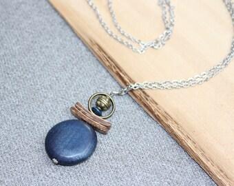collier long, bronze, bois exotique, bleu marine, hippie, boheme, nature, acier inoxydable, argent, bijou de fantaisie, stainless