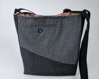 Menswear Crossbody Shoulder Bag – OOAK, Crossbody Bag, Shoulder Bag, Messenger bag, Tote, Travel bag, Women, Purse, Handbag, Day Bag