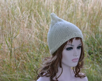 Cream Pixie Hat Womens Cream Beanie Hat, Knitted Hat, Uk , Winter Hat Womens Accessory Gnome Hat, Chunky Hat