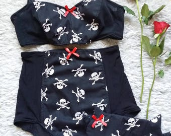 Skull and Crossbones Bralette and High Waist Knickers Set with Sleep Mask, Pin Up Lingerie Set, Halloween Lingerie Set, Sizes XS-XXL
