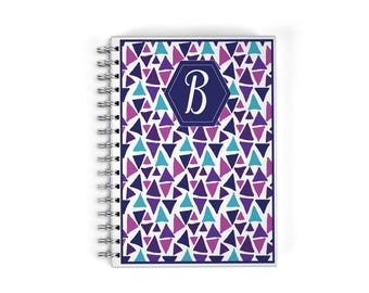 Personalized Meal Planner Notebook - Purple Triangles