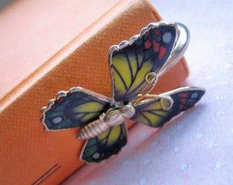 Vintage enameled bookmark, vintage bookmark, butterfly bookmark, vintage pagemark, silver and enamel butterfly bookmark