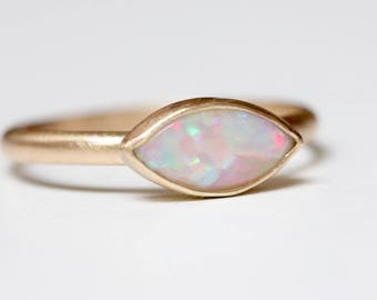 Opal Ring in 14k Gold - Solitaire Marquise Opal Engagement Ring - 14k Gold Stacking Ring - October Birthstone Ring