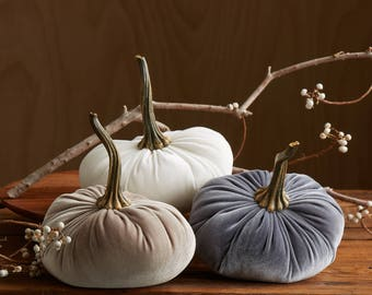 LARGE Scented Velvet Pumpkins, SET of 3: Gray, Ivory, Taupe