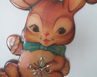 Adorable Vintage Baby Bunny wall Clock