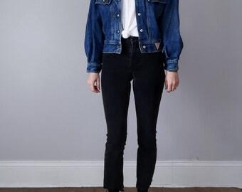 80s denim jacket / guess blue jean dolman avant coat (s - m)