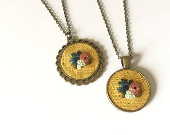 Floral Pendant in Mustard Yellow | hand embroidered necklace, yellow, bouquet, blush pink