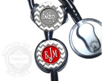 """1 1/2"""" Design Stethoscope ID Tag - Personalized Chevron Circle Nurse Littmann Identification in 11 Color Choices (A005)"""
