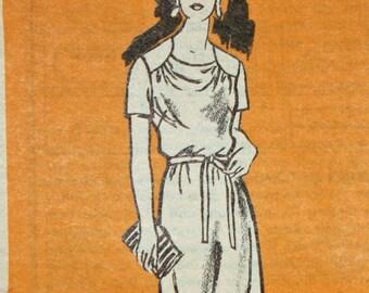 Vintage 1980s Sewing Pattern, Mail Order Pattern 4558,  Half Size Dress, Half  Size 14 1/2,  Printed Pattern