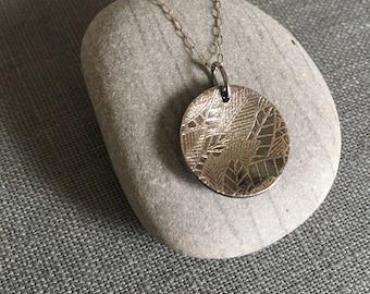 Etched Leaf Necklace - Concave Silver Disc - Patina - Modern Silver Pendant - OOAK - Dark Silver - Silver Circle Pendant - Leaves - Unique