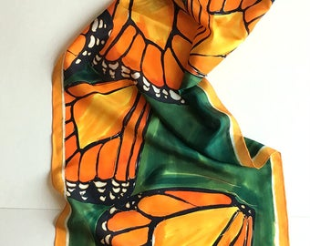 Silk Scarf- Butterfly Wings Green Scarf hand painted Long fashion silk shawl Painted scarves Christmas Gift for her Hand painted Silk KA18