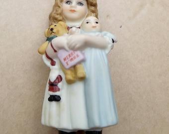 Vintage 1984 Jan Hagara Doll Ornament Bisque Porcelain