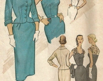 Vintage 50s McCalls 9151 Misses Strapless, Spaghetti Straps or Lace Overlay Sheath Dress with Jacket Sewing Pattern Size 16 Bust 34