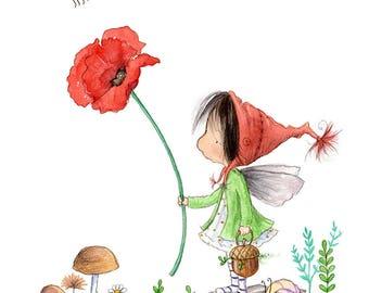 Sunny Tanglegrace Isn't Afraid of Bees - Brunette Fairy  - Fairy Art - Art Print