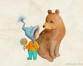 No, You Can't Have Any - Girl and Bear - Art Print