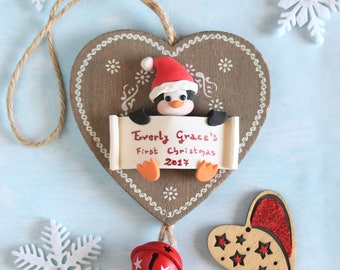 Personalized baby's first Christmas ornament - wood star or heart - Bunny, penguin or owl - gift children newborn kid room decoration