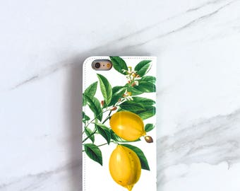 Lemon iPhone Wallet Case Botanical Lemons, iPhone 6/ 6S / 7 Plus Womens Summer Outdoors Accessory