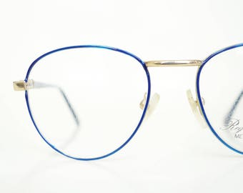 Vintage Round Blue P3 Glasses Wire Rim Womens 1980s Optical Sapphire Bright Gold Shiny Geek Chic Nerdy 80s Eighties Hipster Frames