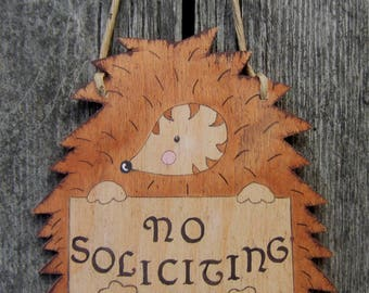 No Soliciting Sign Hedgehog - Hand Painted Wood