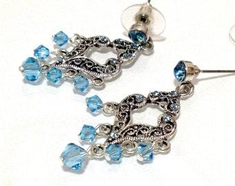 SALE  Swarovski Crystal Turquoise Blue Chandelier Earrings / Bridesmaid earrings / Wedding Jewelry / Blue Earrings / Turquoise Earrings