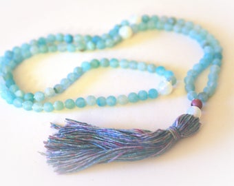 Mala 108 Bead Tassel Necklace. Sea Blue Agate Gemstones & Handmade Silk Tassel. Yoga Jewelry. Prayer Beads. Meditation and Mantra Beads.