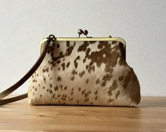 Calf hair clutch, spotted hair on hide bag , cowhide cutch with strap, calf hair bag, kiss lock frame purse, fur clutch