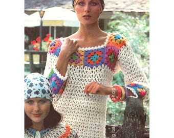 Crochet Pattern Granny Square Top Pullover Sweater Beach Cover Jumper Instant Download