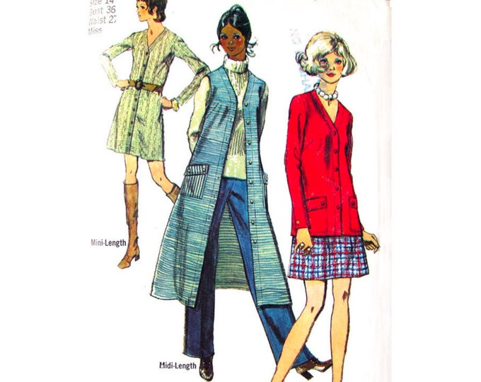 70s Cardigan Mini Dress, Skirt, Midi Vest, Pants Pattern Simplicity 8974 Women Size 10 or 14