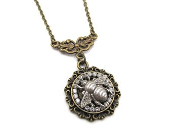 NEW Antique Bronze Silver Bumble Bee Rhinestone Pendant Necklace (BRNK117)