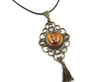 Amber Czech Glass Thistle Antique Bronze Filigree Setting Adjustable Black Cord Necklace (BRNK119)