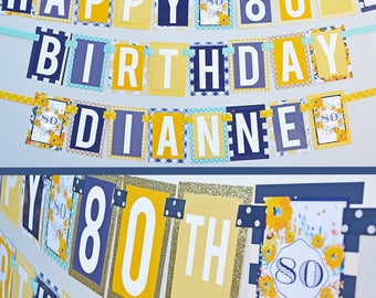 Adult Birthday Party Banner Fully Assembled Decorations | 30th 40th 50th Birthday | 60th 70th 80th Birthday | Retirement Party |
