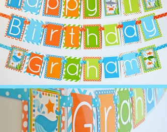 Under the Sea Birthday Party Banner Fully Assembled Decorations | Whale Shark Turtle Party | Under the Sea Birthday | Aqua Orange Green