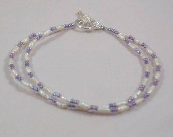 Fresh Water Pearl Double Strand Lavender Beaded Bracelet with Silver Toggle Clasp Size Large