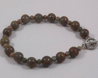 Dark Red and Brown Stone Beaded Bracelet with Toggle Clasp