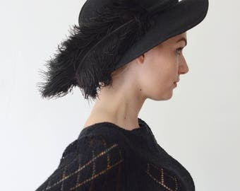 1970s Black Wool Hat with 1920s Black Ostrich Feather