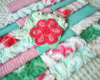 Vintage Chenille Bedspread Squares in Aqua and Pink-Sweet-25-6""