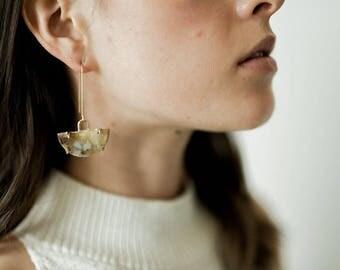 Basin Earrings - unique hand cut stone earrings alunite green grossular polka dot agate