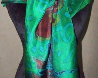 Green/Brown/teal  Zentangle Silk Scarf