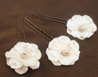 50s White Taffetas/Pearl 3 Hair Pins Flowers Bridal