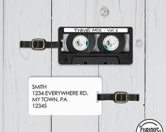 Luggage Tag Travel Mix Vol 1 Retro Vintage Cassette Tape Luggage Tag,  Metal Tag  Personalized Custom Single tag