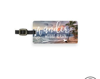 Luggage Tag Wander without Reason Tropical Beach Metal Luggage Tag  With Printed Custom Info Single Tag