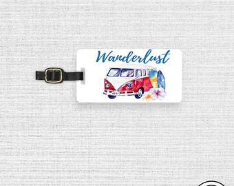 Luggage Tag Wanderlust Travel Bus Metal Luggage Tag  With Printed Custom Info On Back, Single Tag