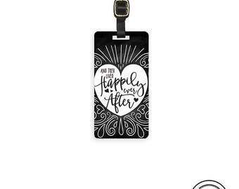 Luggage Tag Happily Ever After Chalk Borad Effect Version 2 Metal Luggage Tag With Custom Info On Back, Single Tag