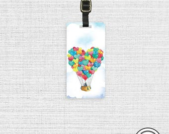 Luggage Tag Romantic Heart Hot Air Balloon Watercolor Art - Single Metal Luggage Tag, strap included Custom Printed Info