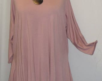 Womens Plus Size Top, Coco and Juan, Lagenlook, Plus Size Tunic, Blush Pink, Rayon Knit Drape Sides, Tunic Top, One Size Bust  to 60 inches